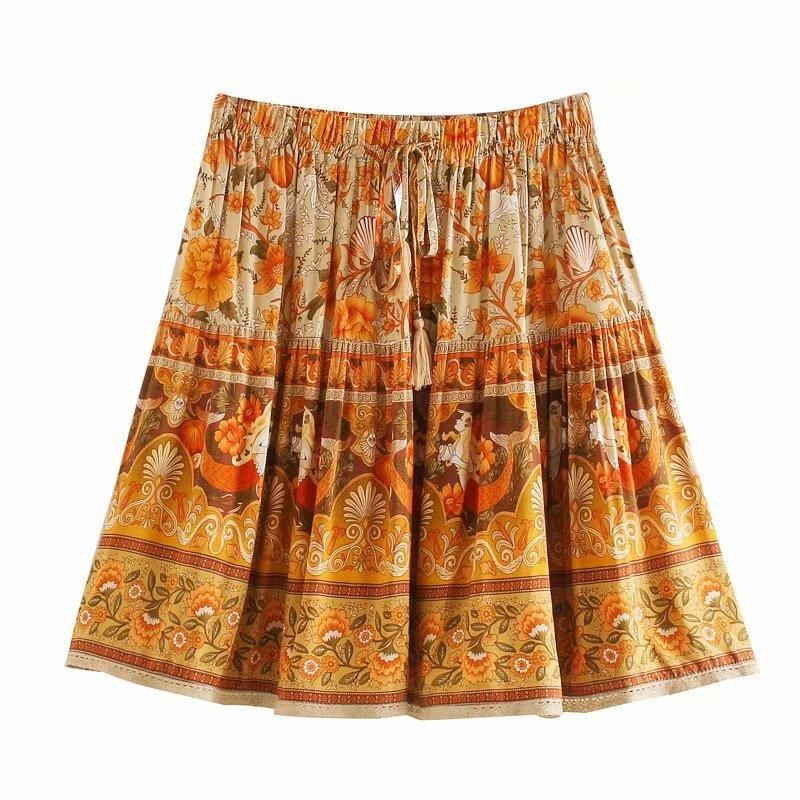 Fashion women 'dress wholesale cotton print shell lace skirt NHAM201491