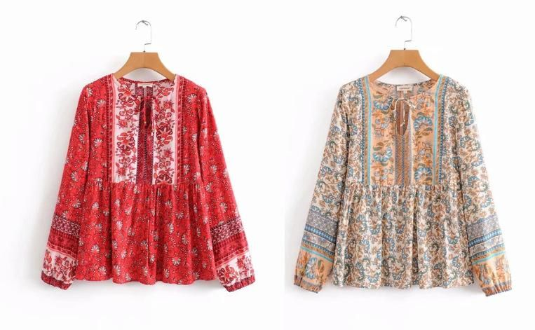 Wholesale Round Neck Openwork Lace Up Colorblock Print Long Sleeve Shirt NHAM201492
