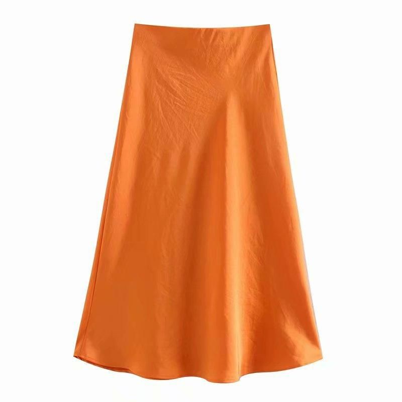 Fashion women 'dress wholesale new satin solid skirt NHAM201500
