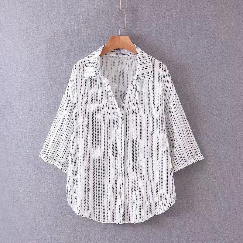 Fashion Wholesale Spring Striped Blouse Top NHAM201506