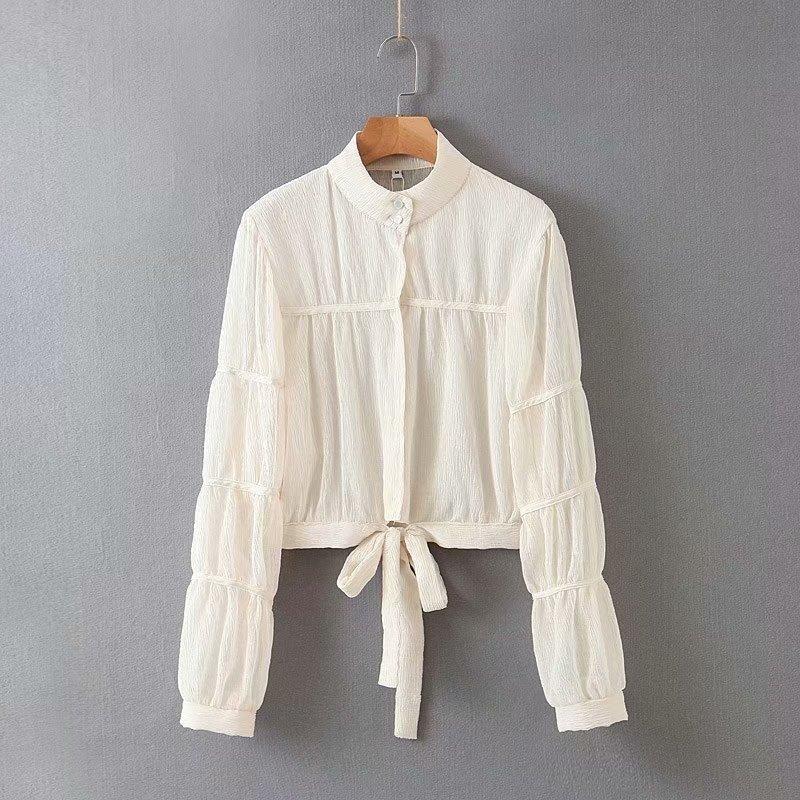 Wholesale tops spring stitching women's hem lace-up shirt NHAM201509