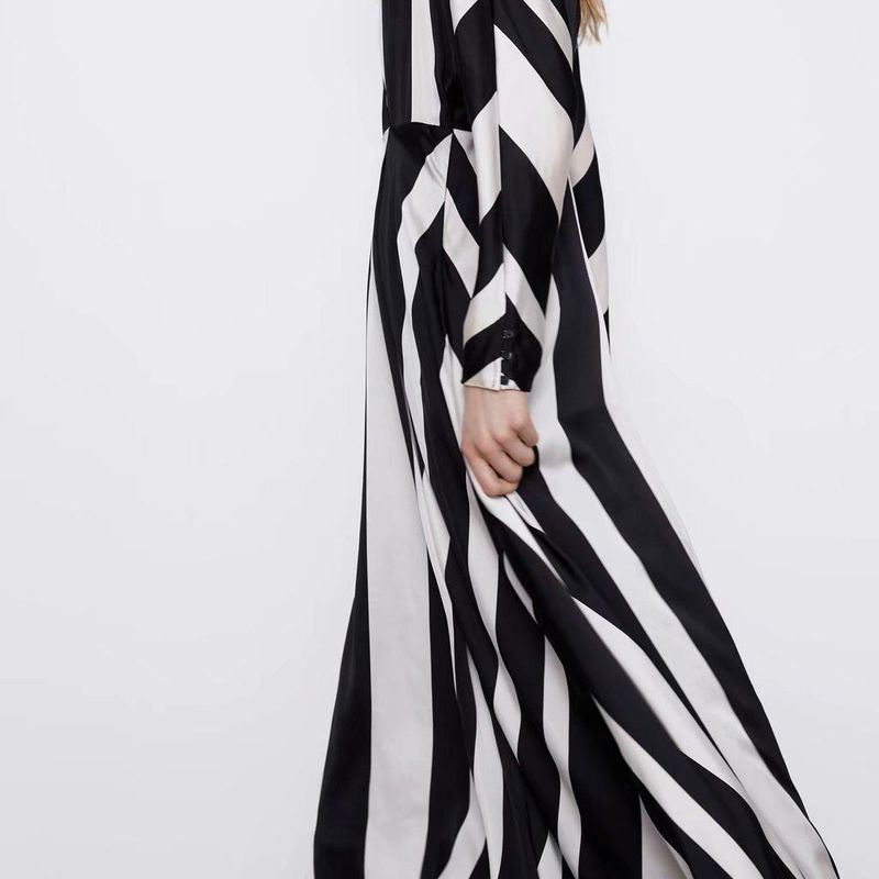 Wholesale spring silk satin texture striped long beard v-neck sexy dress NHAM201513