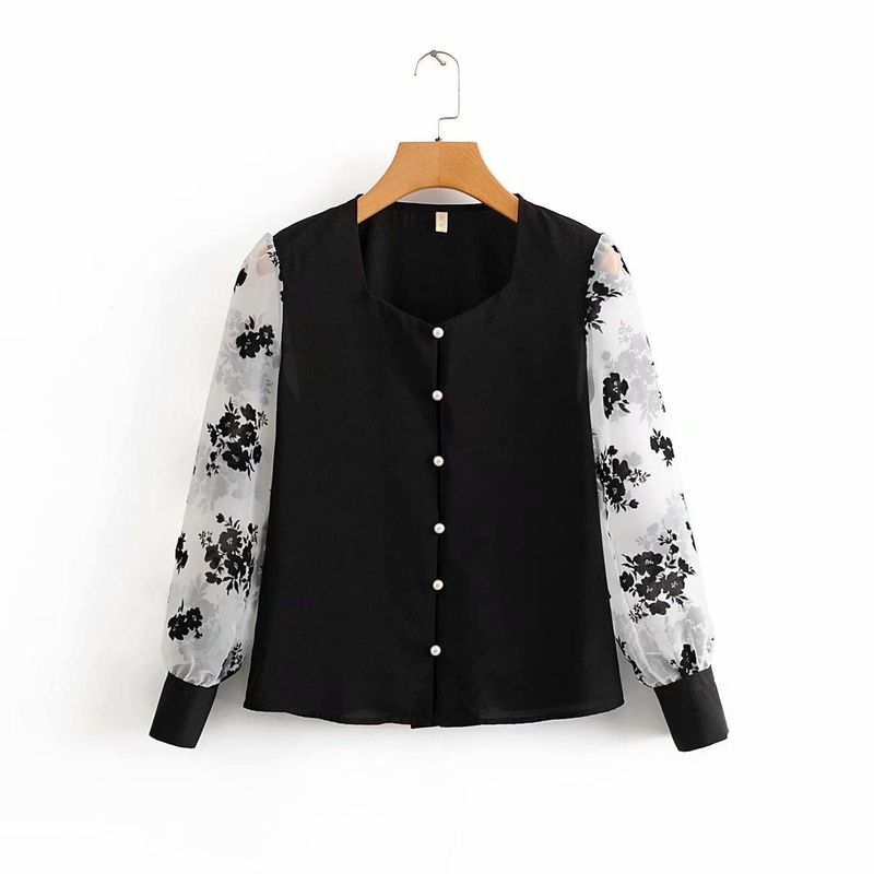 Fashion Wholesale Spring New Vintage Organza Flocked Chiffon Shirt NHAM201521