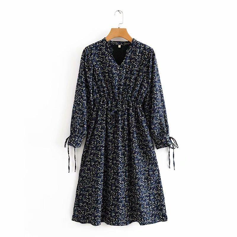 Wholesale mid-length v-neck long-sleeved floral coat dress NHAM201529