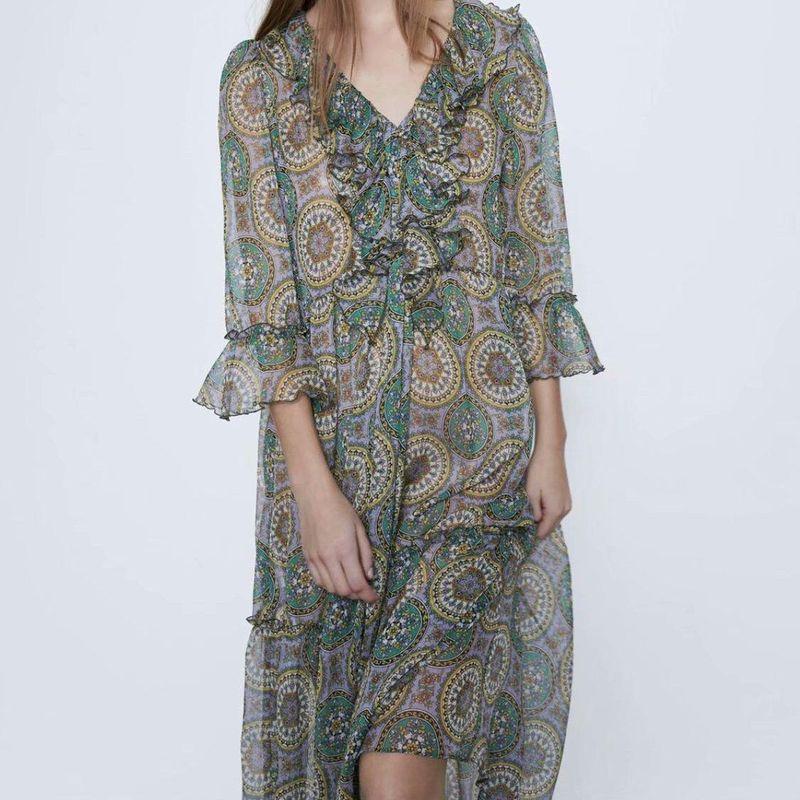 Wholesale Spring Laminated Printed Long Dress NHAM201537