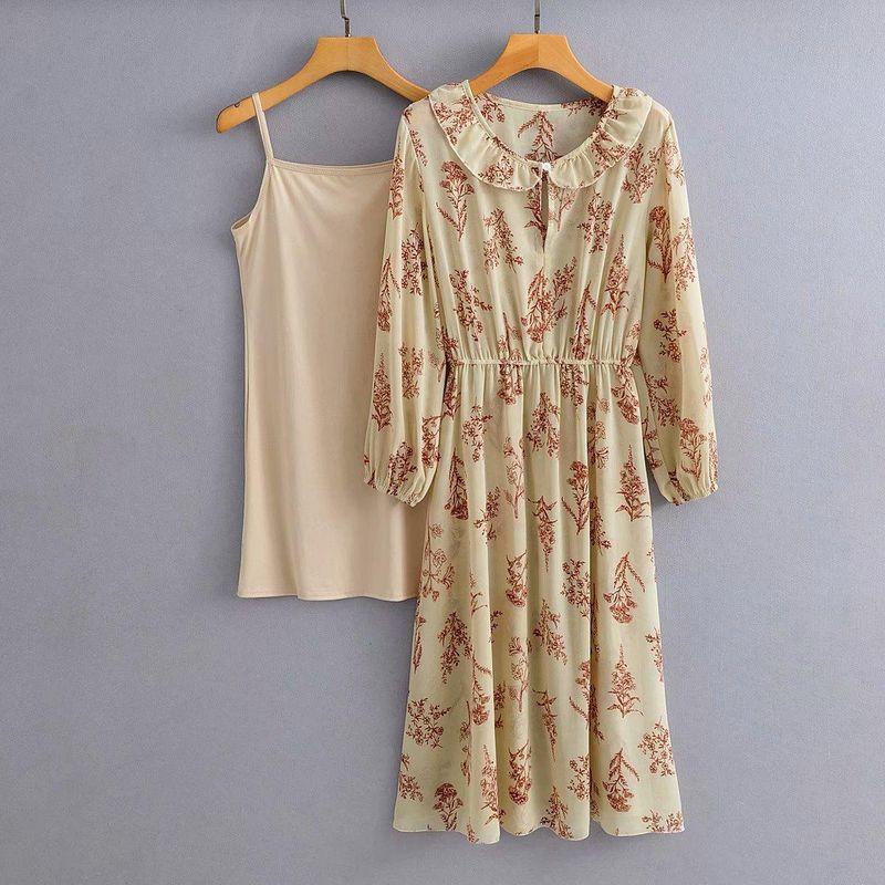 Wholesale New Doll Collar Two-piece Drawstring Floral Dress NHAM201546