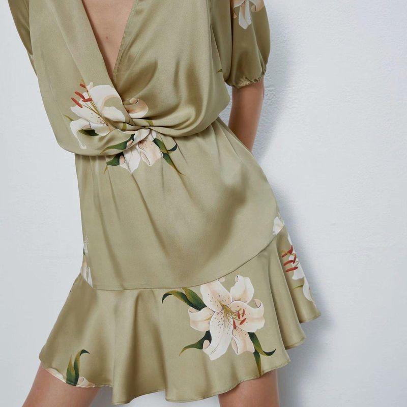 Fashion women 'dress Wholesale Spring Knot Printed Deep V-Neck Dress NHAM201548