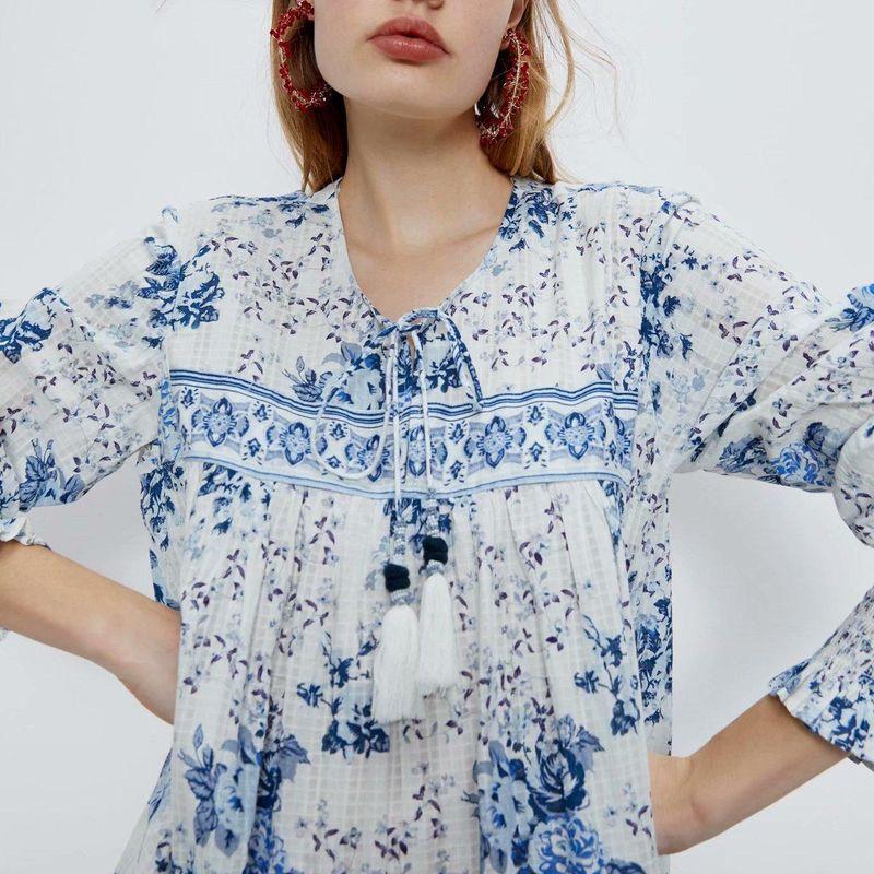Fashion women 'dress wholesale spring printed long-sleeved loose long dress NHAM201551