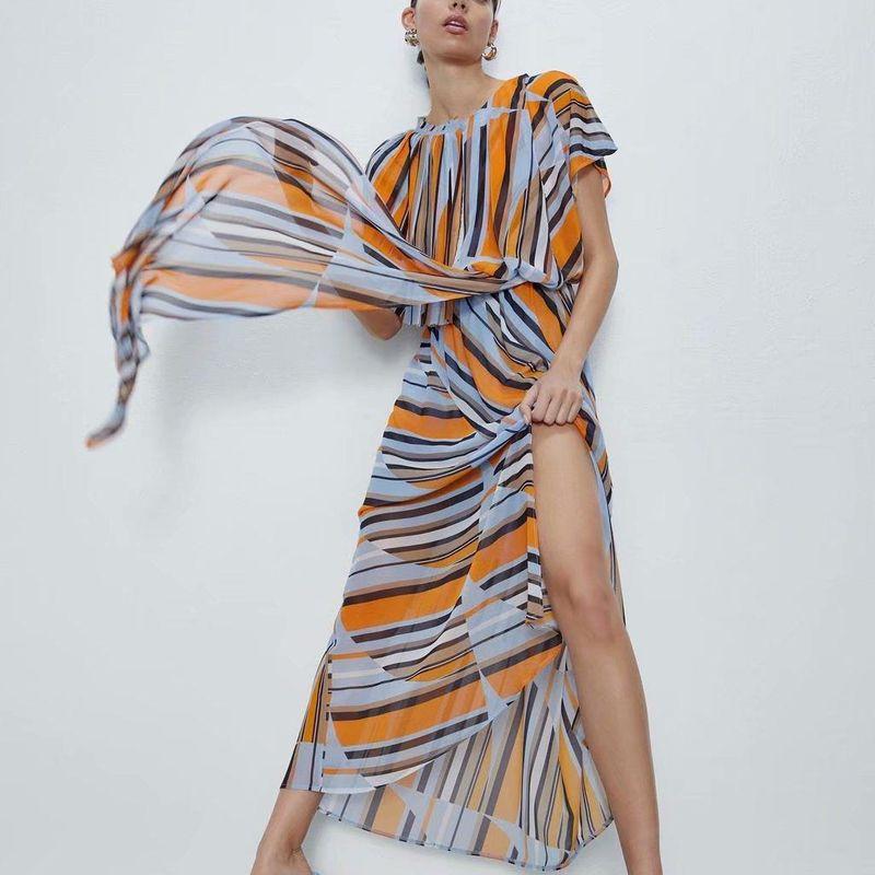 Fashion women 'dress wholesale chiffon color matching spring long dress NHAM201552