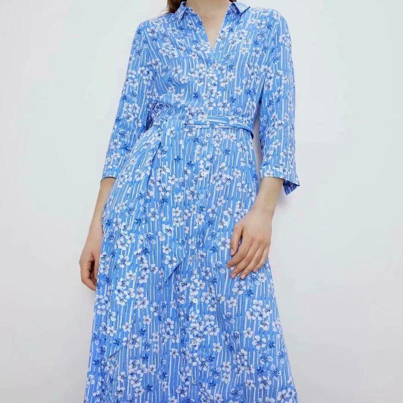 Fashion women 'dress Wholesale Spring Flower Print Long Sleeve Shirt Dress NHAM201553