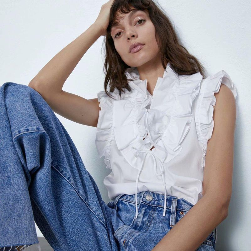 Women's Sleeveless Shirt Wholesale Spring Laminated Poplin Shirt NHAM201559