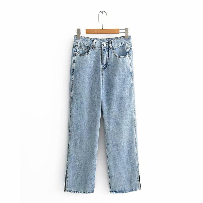 Wholesale New Fashion High Waist Straight Drop Vertical Wide Leg Jeans NHAM201561