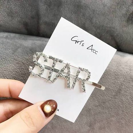 Alphabet hair clip hair accessories flash diamond letters personalized hair accessories hair clips NHSC201779's discount tags