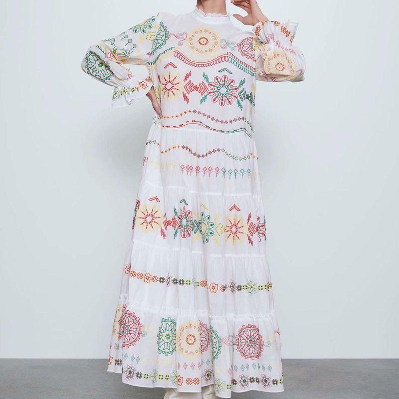 Long skirt wholesale spring long sleeve printed dress NHAM201565