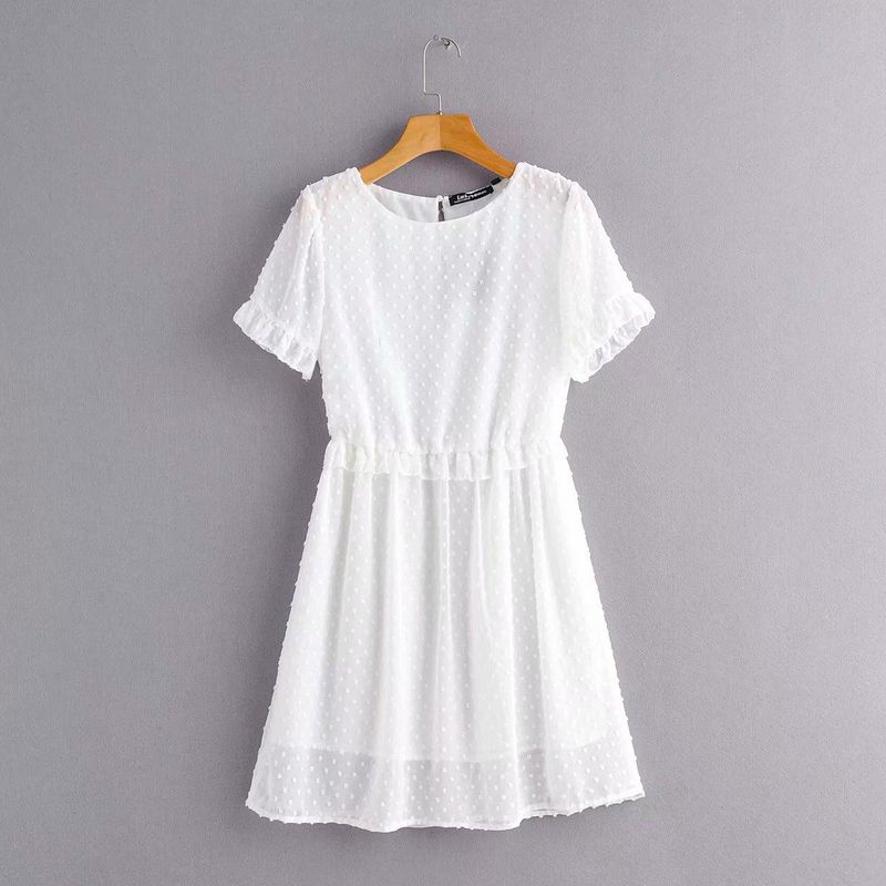 Wholesale Spring Jacquard Round Neck Short Sleeve Dress NHAM201567