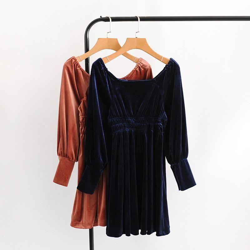 Wholesale new elastic waist velvet dress NHAM201573