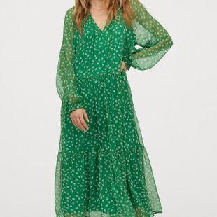 Vestido de mujer de moda Vestido largo de manga larga de gasa estampada de primavera al por mayor NHAM201574's discount tags