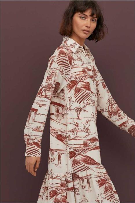 Spring Long Sleeve Print Shirt Dress Wholesale NHAM201594