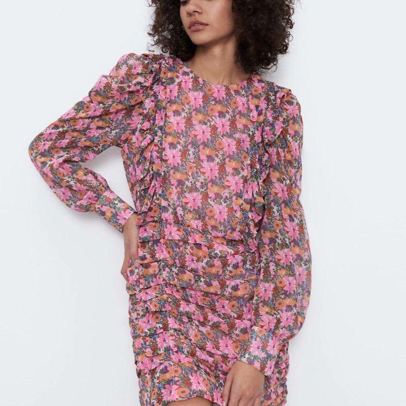 Fashion women 'dress new pleated printed dress wholesale NHAM201597