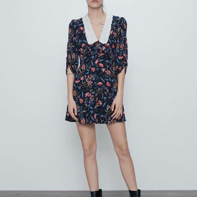 Fashion women 'dress wholesale new embroidered neckline printed dress NHAM201599