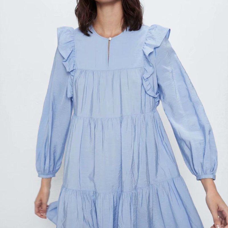 Fashion women 'dress wholesale spring jewelry button long sleeve short dress NHAM201605