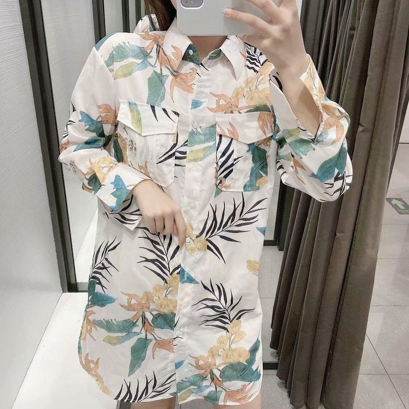 Wholesale Spring and Summer New Women's French Leaf Print Shirt Casual Top NHAM201610