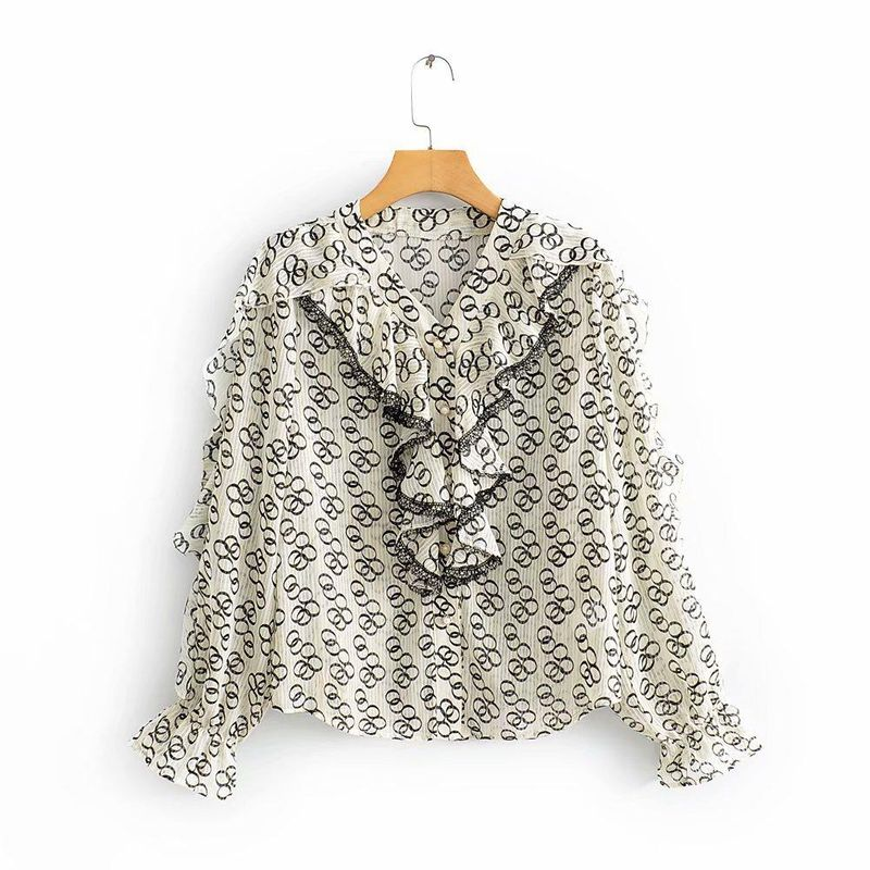 Wholesale early spring new women's printed ruffled casual blouse shirt shirt NHAM201612