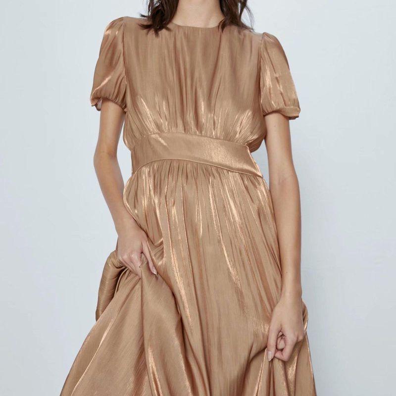 Fashion women 'dress wholesale spring fluffy sleeved midi dress NHAM201613