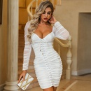 Sexy solid color slim mesh lace up shot bubble sleeve party dress dress womens wholesale NHDE203197