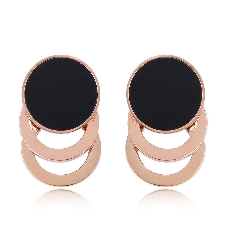 Fashion Rose Gold Titanium Steel Simple Circle for women Earrings NHSC201774