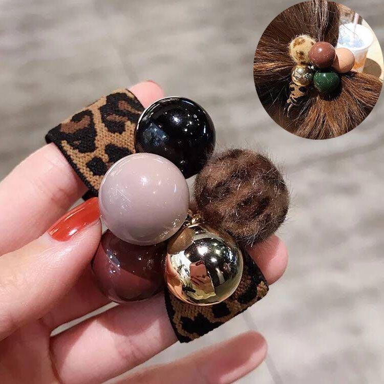 New hair rope leopard hair ring adult headdress bracelet dual-use simple tie hair NHSC201771
