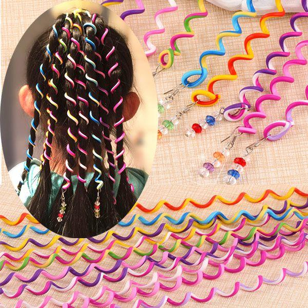Candycolored Princess Korean Spiral Hair Weaving Device Rainbow Hair Accessories Headdress Beaded Curly Hair Stick NHSC201770