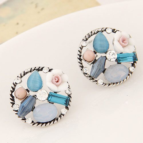 Korean fashion sweet OL retro gem earrings wholesales  NHSC201762