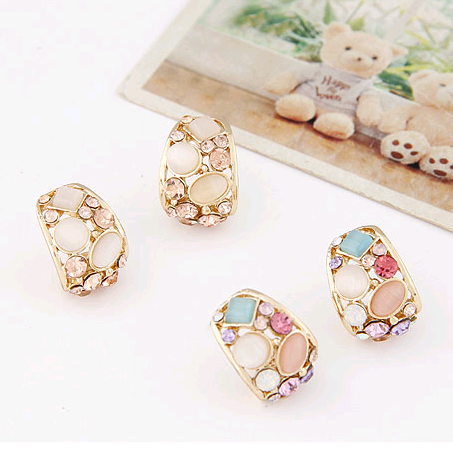 Korean fashion sweet OL shiny opal earrings wholesales  NHSC201761