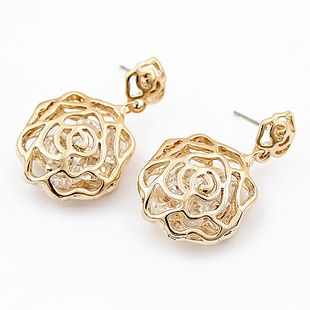 Korean Fashion Pastel Rose Zircon Earrings wholesales fashion NHSC201760's discount tags