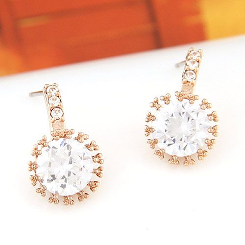 Korean fashion sweet OL graceful bright zircon earrings NHSC201759
