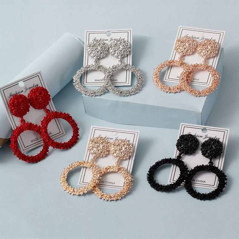 Jewelleryfor women Multicolor Fashion Round Hollow Matte Earrings Painted Metal Stud Earrings 1 Pair NHNZ202476