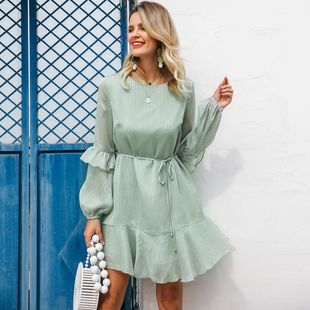 Solid color round neck long sleeve lantern sleeve dress fashion women clothes wholesale NHDE201677's discount tags