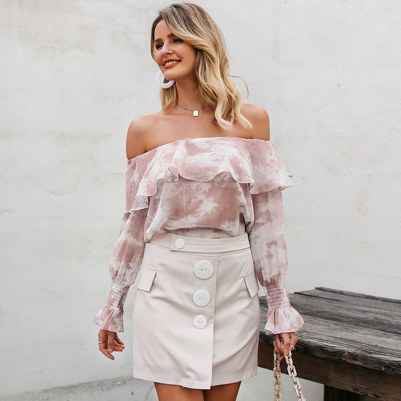 Sexy One Shoulder Long Sleeve Shirt Top Fashion Women's Clothes Wholesale NHDE201681