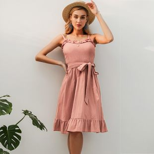 Sleeveless Simple Dress Mid Length Sweet Dress Fashion Women's Clothes Wholesale NHDE201687's discount tags