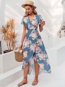 Short Sleeve Sexy Leg Split Print Dress Fashion Women39s Clothes Wholesale NHDE201688