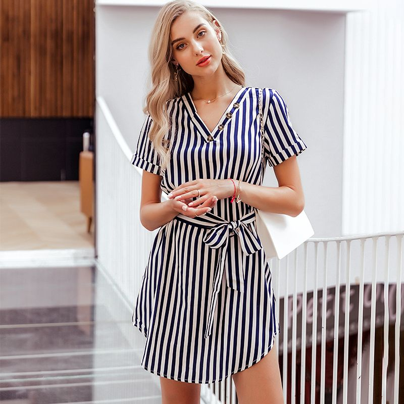 Short Sleeve V-neck Half-length Dress Fashion Women's Clothes Wholesale NHDE201691