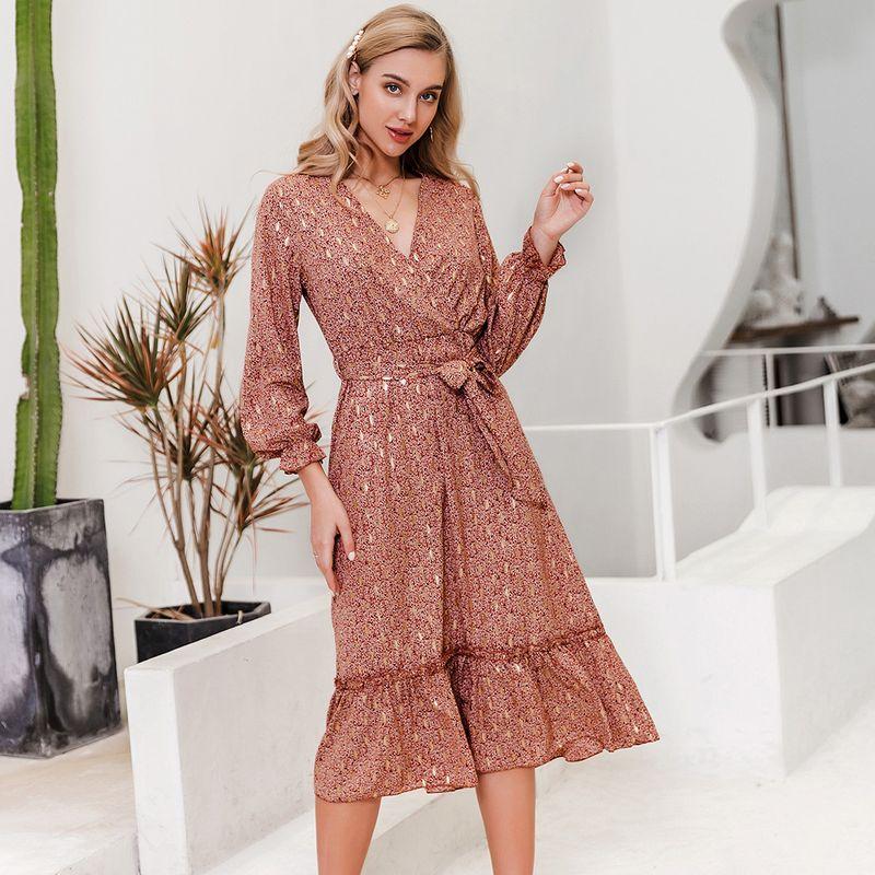 Long Sleeve Sexy V-neck Big Skirt Dress Fashion Women's Clothes Wholesale NHDE201693