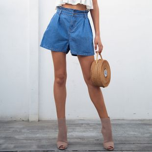 Blue denim shorts fashion women clothes wholesale NHDE201696's discount tags
