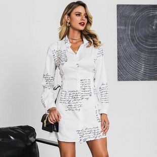 Sexy White V-Neck Long Sleeve Dress Wholesale Fashion Women's Clothes NHDE201698's discount tags