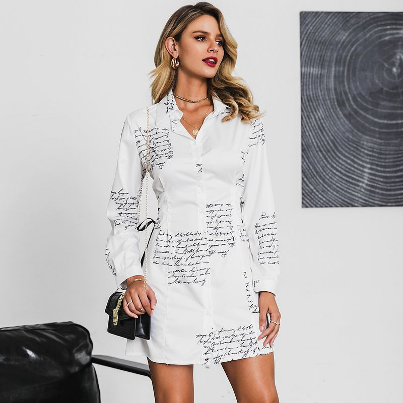 Sexy White V-Neck Long Sleeve Dress Wholesale Fashion Women's Clothes NHDE201698