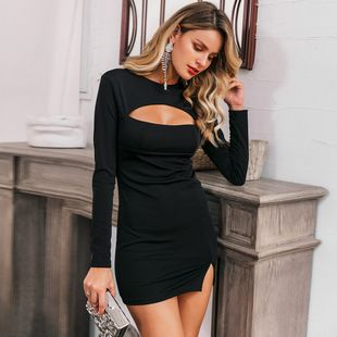 Sexy black long sleeve dress wholesale fashion women's clothes NHDE201701's discount tags
