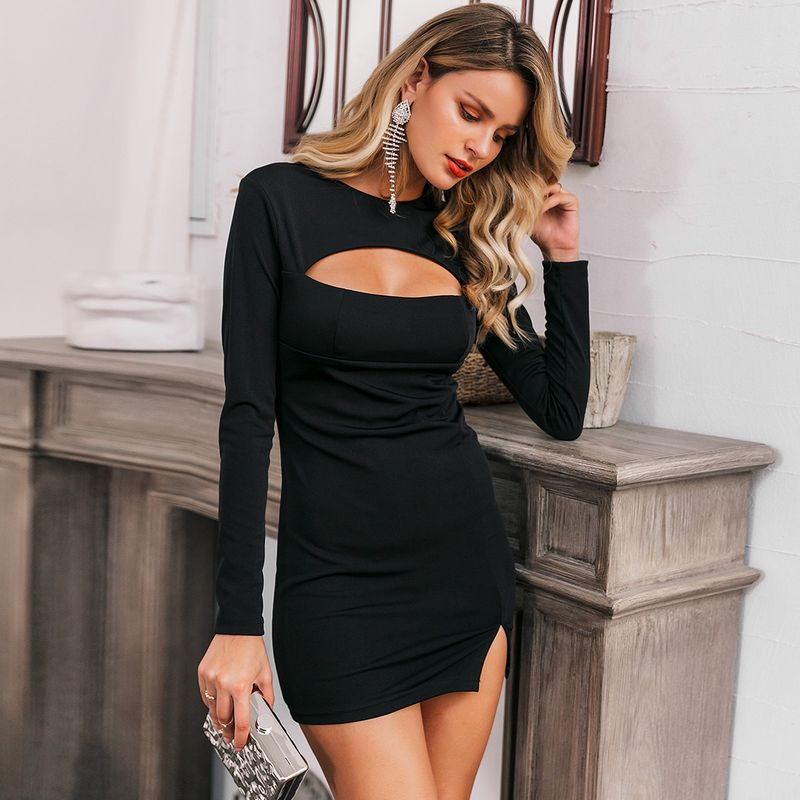 Sexy black long sleeve dress wholesale fashion women's clothes NHDE201701