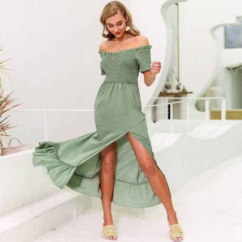 Sexy off-shoulder split long dress wholesale fashion women's clothes NHDE201705