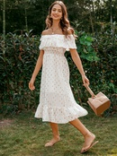 Solid color sweet word shoulder lace dress wholesale fashion women39s clothes NHDE201712